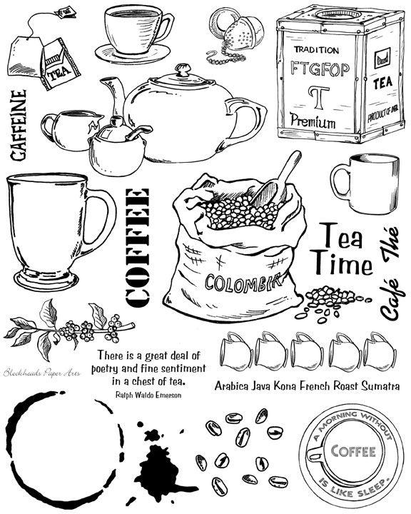 Blockheads Stamp Set - Coffee Tea Full Sheet unmounted 20.00