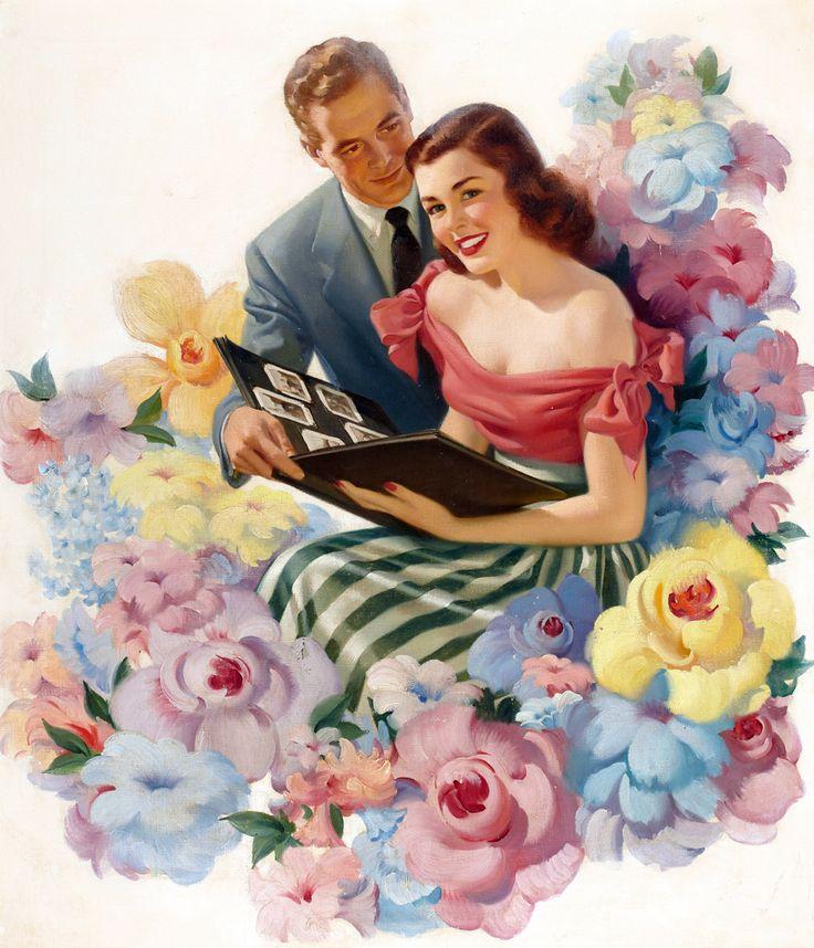 Он и она открытки нарисованные, приветом