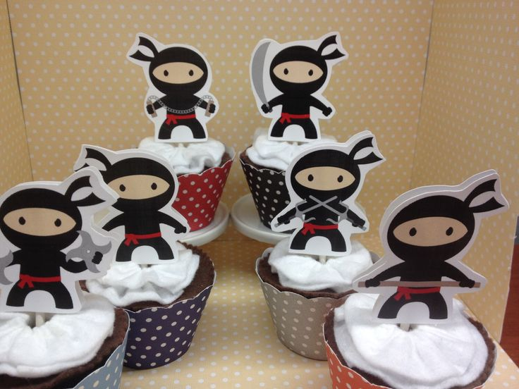 Boy and Girl Ninja Party Cupcake Toppers - Set of 10 by PartyByDrake on Etsy https://www.etsy.com/listing/245400770/boy-and-girl-ninja-party-cupcake-toppers