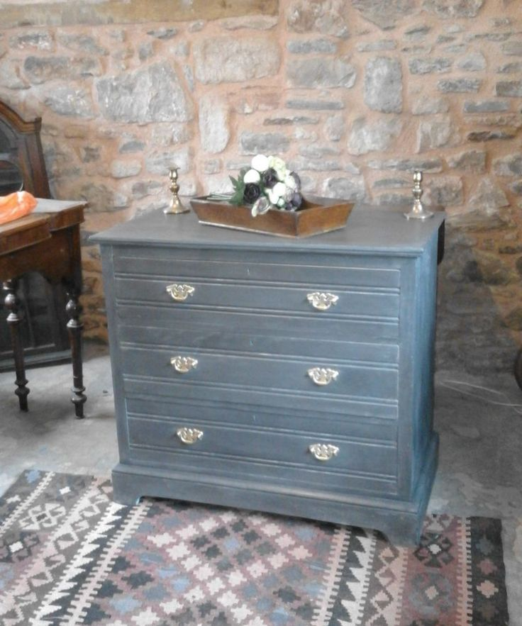 Antique chest of drawers painted in graphite chalk paint, brass handles
