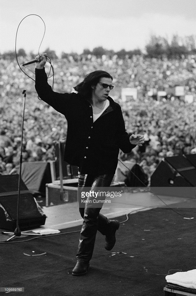 Singer Ian Astbury of English rock group The Cult performing at the Milton Keynes National Bowl, May 1993. The band are opening for Guns N' Roses.