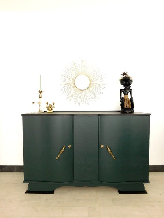 Art Deco Green And Black Buffet In 2020 Vintage Art Deco Sideboard Art Deco Sideboard Art Deco