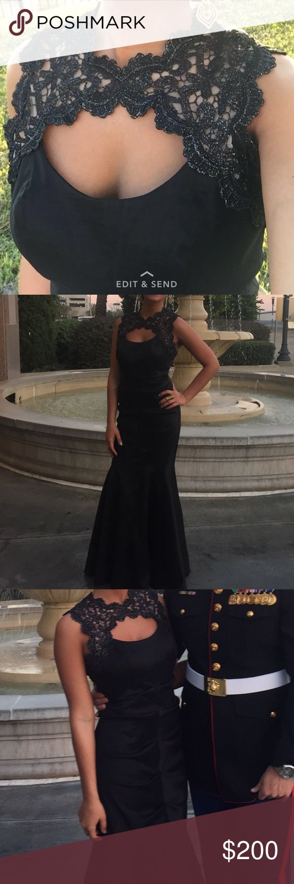 Black ball gown Pleated mermaid gown. Beautiful lace around the neck. Plain black everywhere else! Perfect for a marine ball! Only worn once ! Dresses Prom