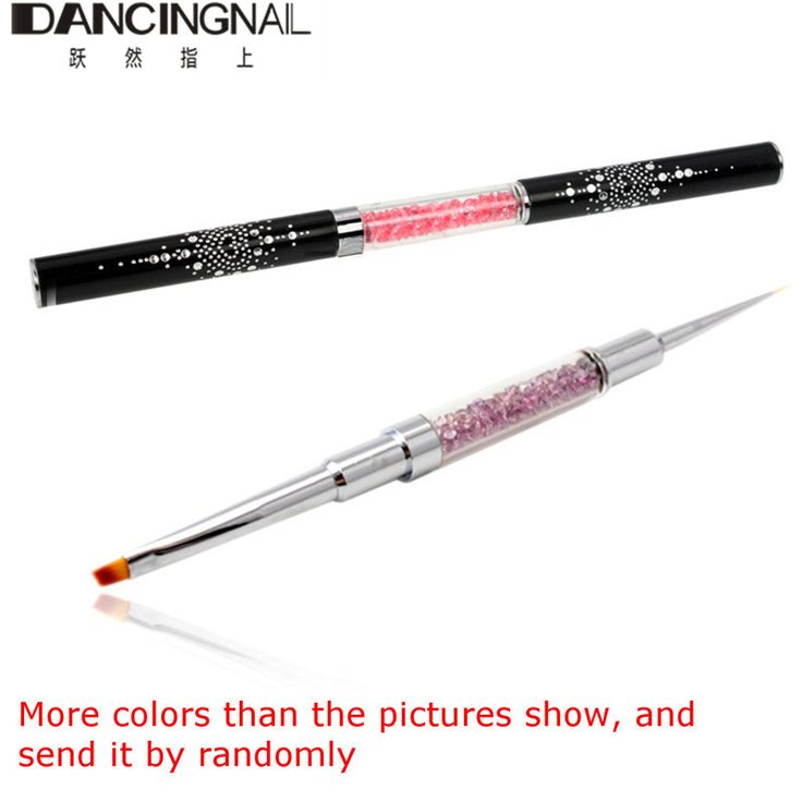 Double Head Acrylic Nail Art Brushes Flat+Line Brush UV Gel Painting Drawing Carving Crystal Handle Pen Beauty Manicure Tools