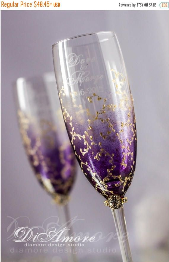 10% OFF Personalized Wedding Champagne Glasses, Plum  Gold, Modern, Gold Lace, luxu Ttraditional, Classic Wedding gifts, 2pcs /G3/4/13/7-000