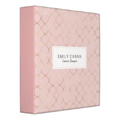 Geometric Pattern Gold Foil Blush Pink Monogram Binder - trendy gifts cool gift ideas customize