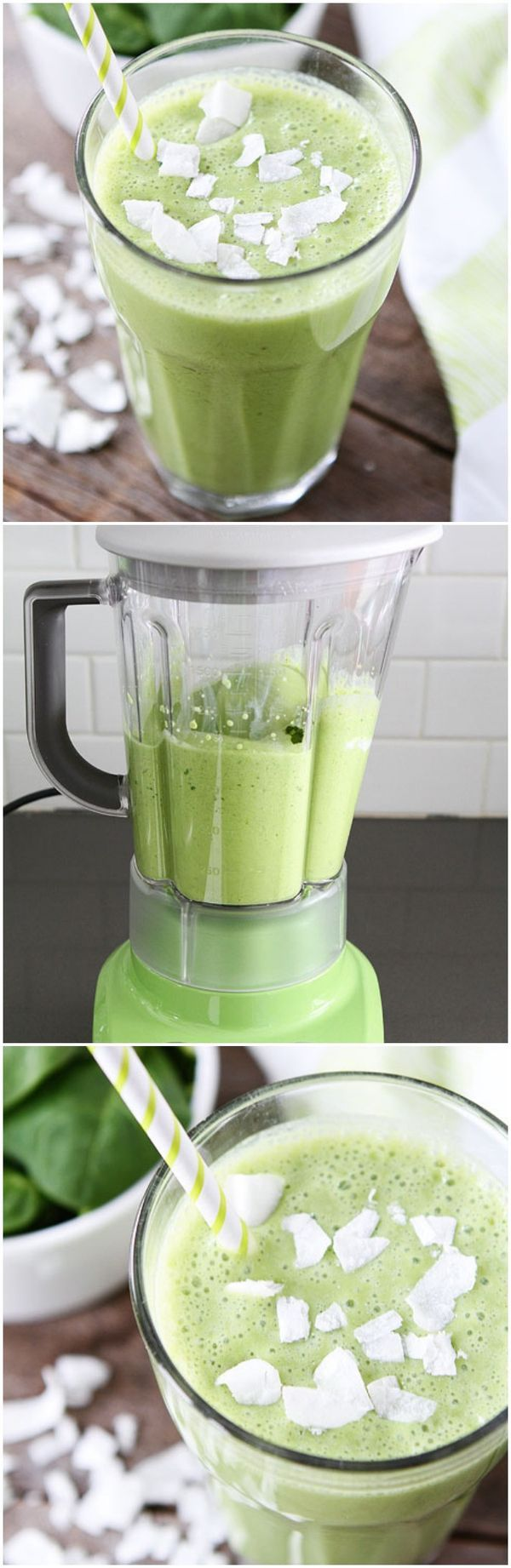 Coconut Green Smoothie Recipe on twopeasandtheirpod.com Love this simple green smoothie!