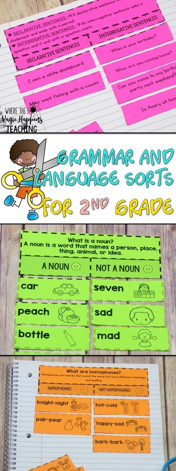 Language arts and grammar sorts for students 2nd grade. Includes parts of speech, plurals, sentences, word sorts, word relationships and much more. These activities are Common Core aligned and they will the perfect addition to your language arts lesson plans. #literacycenters #secondgrade #guidedreading