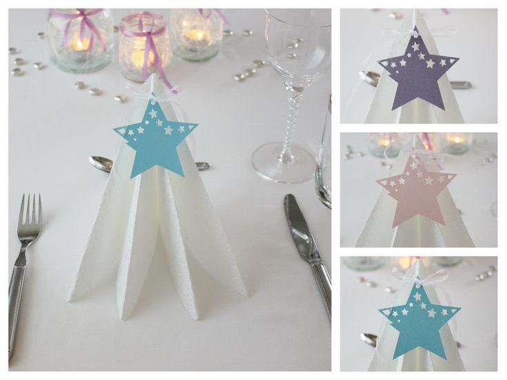 Bordkort til bryllup, dåp og konfirmasjon. Stjernebordkort. www.pynttilfest.no