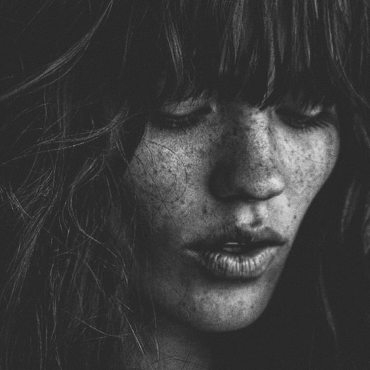 Woman / Freckles / Black and White Photography