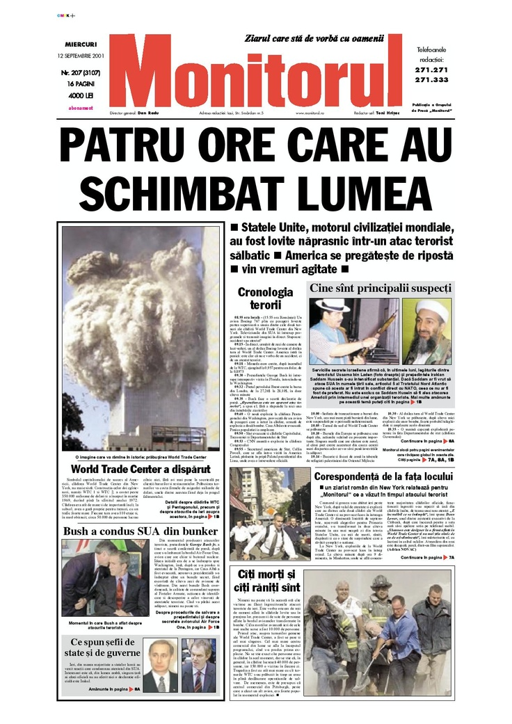 Ziarul de iasi din 12 septembrie 2001