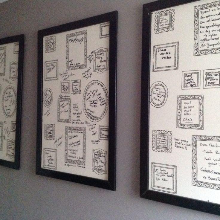 Leuk idee! Borden gemaakt van fotolijstjes behang met daarop een wens van de bruiloft gasten.