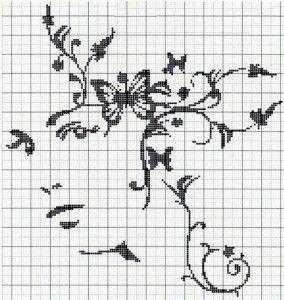 Схема для монохромной вышивки на подушке