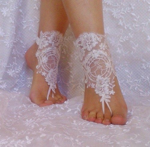 White silver frame beach wedding barefoot sandals bridal lace shoe