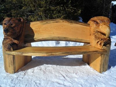 Chainsaw Wood Carvings and sculptures by Jim Menken, Canadian Chainsaw Carver and Artist from Orangeville, Ontario. See Benches and more portfolio here.
