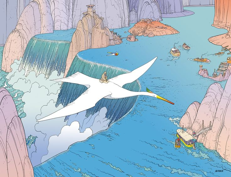 Voyage d'Hermes by Moebius  In 2011, Moebius was hired by fragrance company Hermès to create nine illustrations for a new line called Voyage d'Hermes. They would be a part of a wide marketing campaign to promote the line, including this commercial based somewhat on these drawings. Three of these images are direct recreations of scenes from various Aedena stories featuring Stel & Atan.