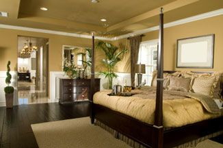 master suite ideas photos | The huge master bedroom above was staged for a model home using a warm ...