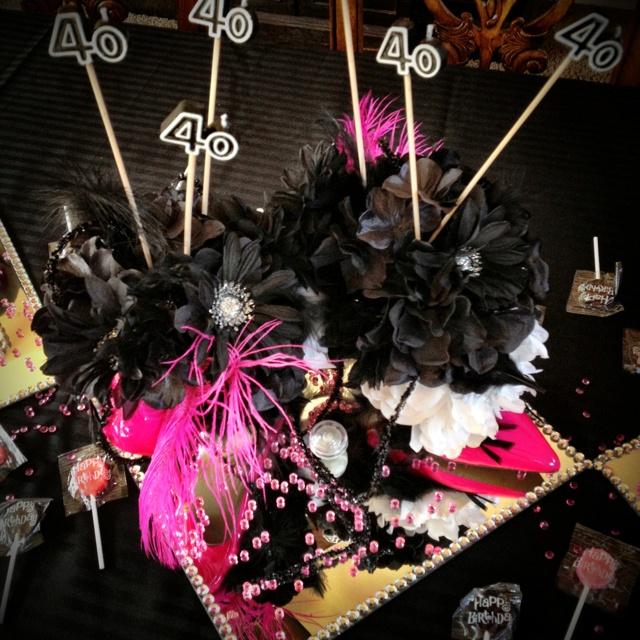 40th birthday party stiletto centerpiece