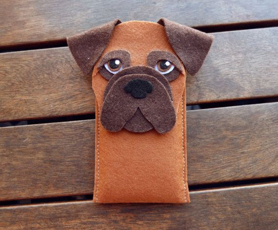 Boxer iPhone Case Dog Felt Phone Sleeve Cell Phone by LayonStore