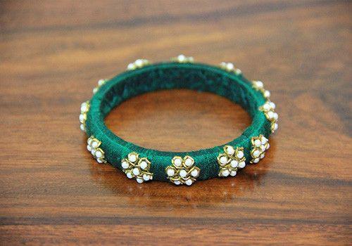 Thin Dark Green Zardozi Bangle – Desically Ethnic   #desi #ethnic #desicallyethnic #shopnow #onlineshopping #bangles #accessories #indian #jewelry #jewelsofindia #pearl
