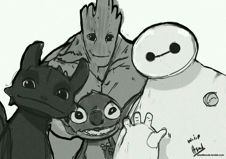 Toothless, groot, big hero 6 and stitch