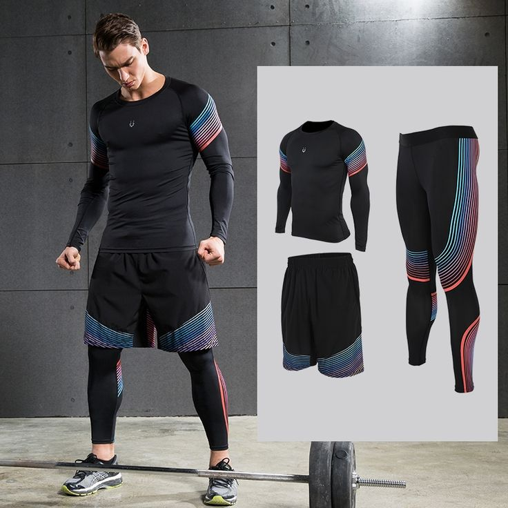 78.82$  Buy now - http://ali6aq.worldwells.pw/go.php?t=32784553504 - Men's Running Sets Sportswear Compression Leggings  Pants Shirts with Shorts for Running Joggers Gym Fitness Ball games  78.82$