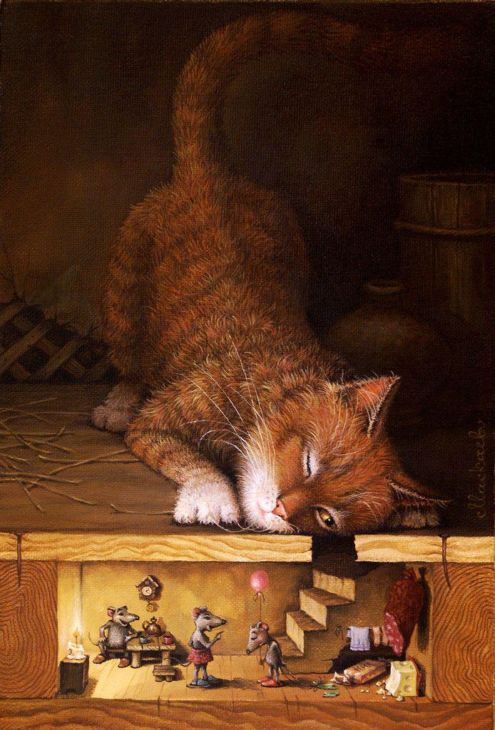 Картинка рыжего кота и мышки