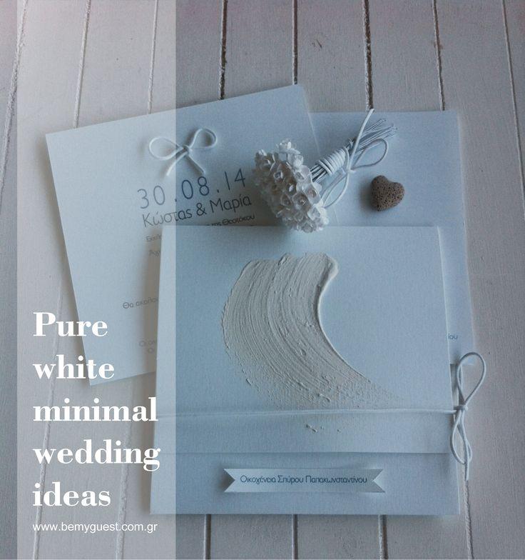Pure white handmade wedding invitations | summer weddings in Greece | designed by www.bemyguest.com.gr