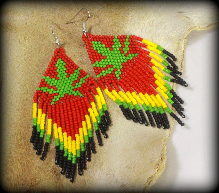 Cannabis Seed Beaded Earrings Bob Marley Weed Tribal Cannabis Leaf Native Marijuana Green Leaf Cannabis Weed Seed Pot Leaf Red Yellow Green by NativeStyles on Etsy