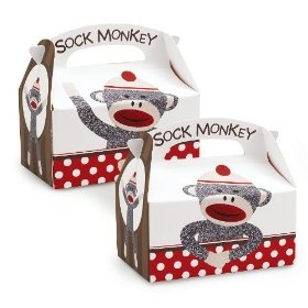 Sock Monkey Red - Empty Favor Boxes (4) Party Supplies