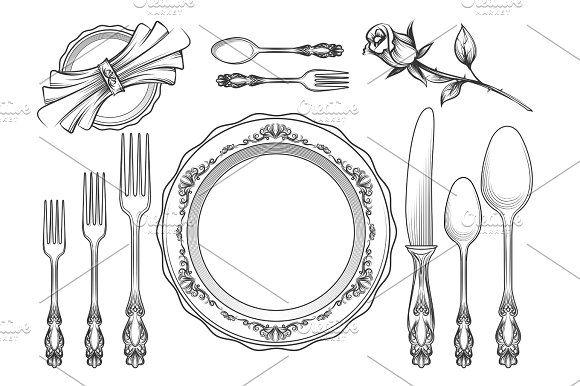 Vintage food service equipment sketch by vectortatu on @creativemarket