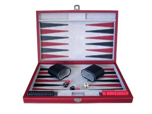 Brandon 15 Vinyl Backgammon in Black and Red