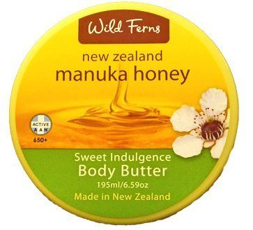 Manuka Honey Wild Ferns Cream Body Butter - Large size by Wild Ferns. $18.60. A luxurious body crème containing a blend of pure active Manuka Honey, Shea Butter, Jojoba and Sweet Almond Oil to leave your body smooth and deliciously fragranced.. Sweet indulgence Honey body butter, 195ml/6.59oz (Larger size back in stock). A luxurious deep hydrating body creme containing a delicate blend of totally pure active New Zealand Manuka Honey. Shea butter, bees wax and sweet...