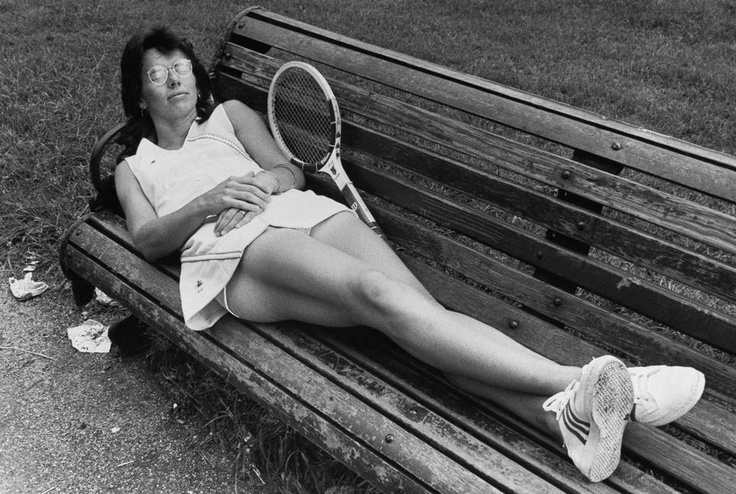 Mrs. Billie Jean King, Long Beach, Calif., the Wimbledon's champion, who confirmed last night that there will be no women's boycott of Wimbledon, stretches out on a seat on June 22, 1973 in Kensington Gardens, London after a long night of debate. She is wearing the new fashion in Dacron designed for her for 1973 by Ted Tinling. (AP Photo)