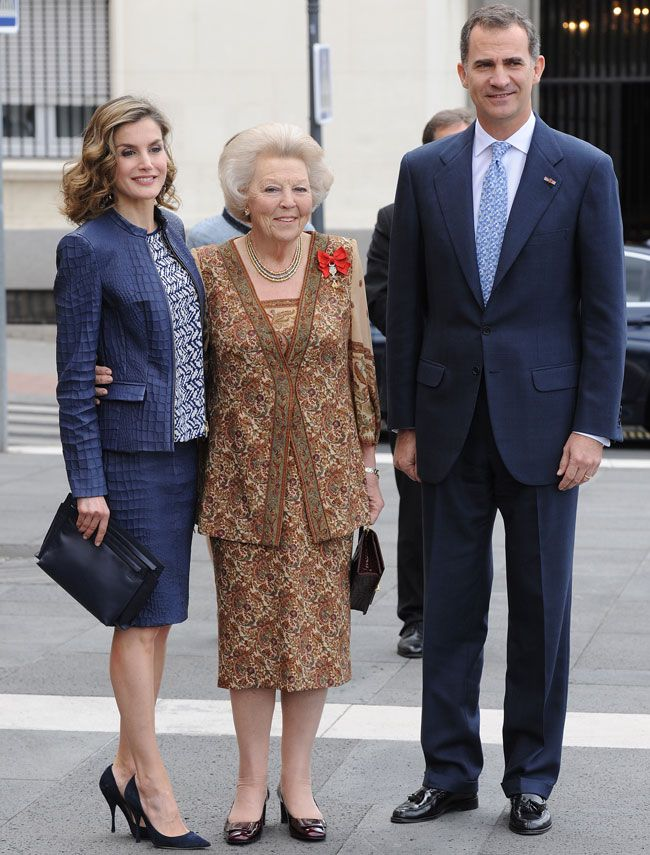 """May 30, 2016 - The King & Queen of Spain and Princess Beatrix attend the """"El Bosco"""" 5th Centenary Anniversary Exhibition at the El Prado Museum in Madrid."""