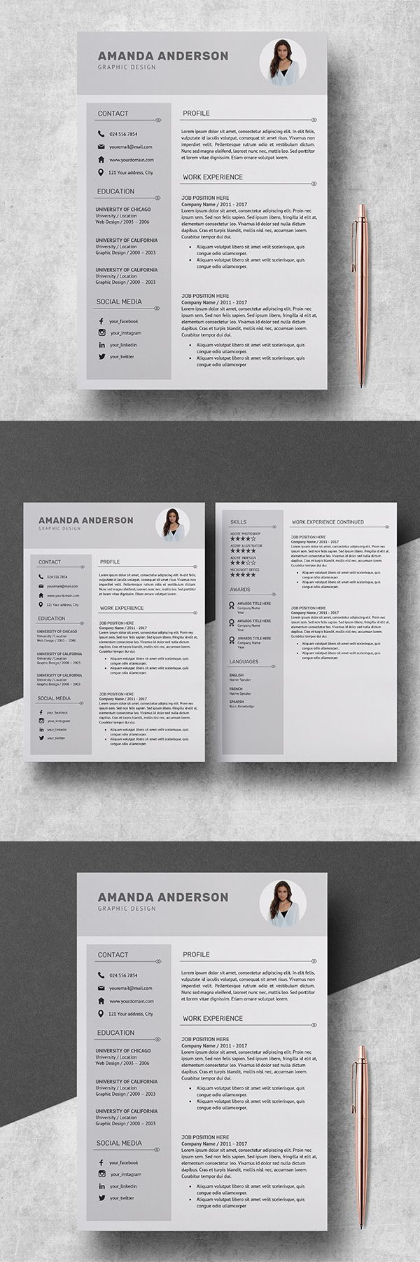 Professional Resume Template with Photo Resume Template