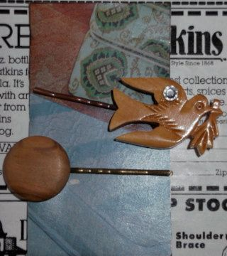 Wooden Hair Accessory Vintage Bobby Pin Set  FREE by thineintime, $11.00