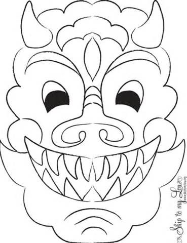 chinese dragon face coloring pages printable | 12 best Free Printable Animal Masks (Templates) images on ...