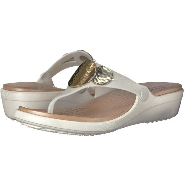 Crocs Sanrah Embellished Wedge Flip (Oyster/Gold) Women's Wedge Shoes ($40) ❤ liked on Polyvore featuring shoes, sandals, flip flops, crocs sandals, metallic flip flops, embellished wedge sandals, wedge flip flops and gold flip flops