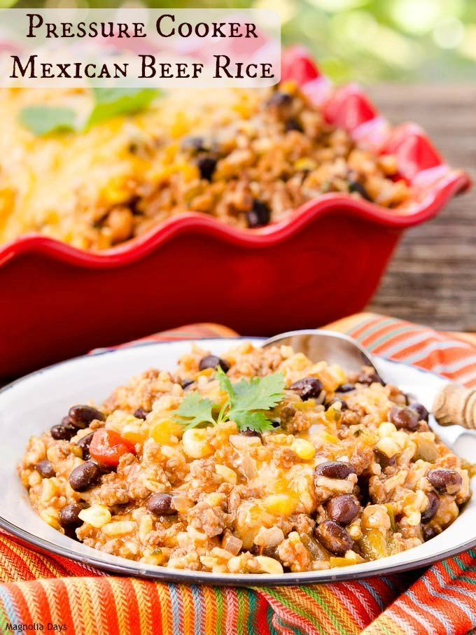 Pressure Cooker Mexican Beef Rice is a speedy, healthy, and one pot meal with a fiesta of flavors. Serve it as southwestern rice bowls or lettuce wraps. #WeekdaySupper with @beeffordinner