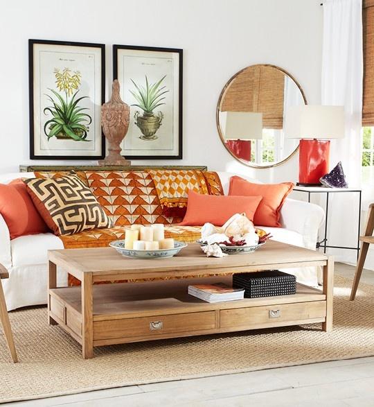 Exotic Orange Living Room