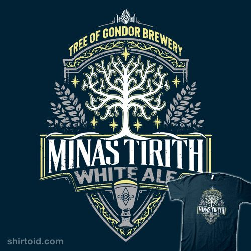 """Minas Tirith White Ale"" by Cory Freeman Label design inspired by The Lord of the Rings Tree of Condor Brewery"
