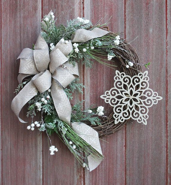 Christmas Wreath Winter Wreath Snowflake Wreath by HilltopRustics