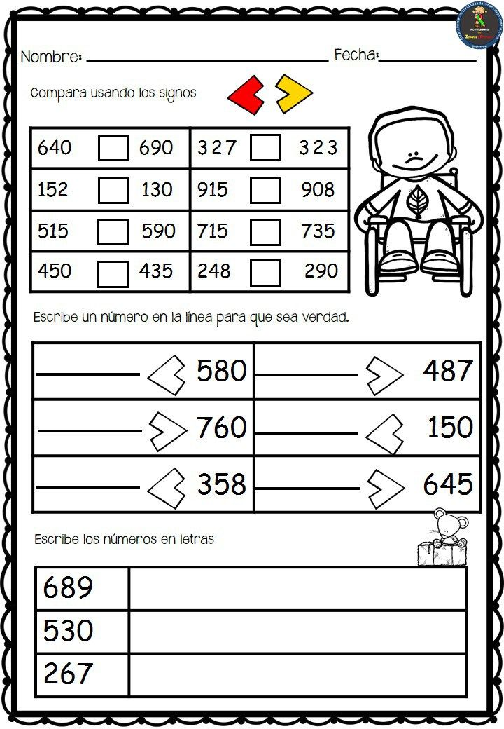 Fichas para trabajar la comparación de números en segundo de primaria. Fichas en formato PDF para poder descargar.   Vamos a comparar números en Segundo de Primaria  Descar…