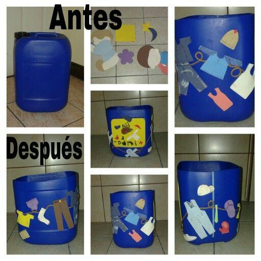 Cajón de ropa sucia para niñ@, a partir de un contenedor plástico fuerte y decoraciones de foam reutilizadas. Con la ventaja de que l@s niños pueden participar en la elaboración. ;)  #infantil #reciclaje #upcycling #contenedor #foam #diy #organizadores