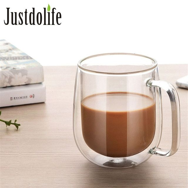 350ml Coffee Cup Milk Mug High Quality Double Wall Transparent