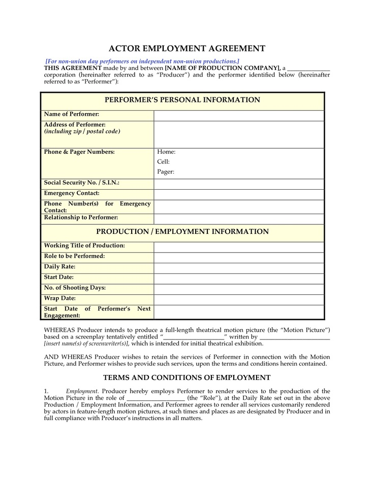 Actor employment agreement for non-union day performers    www - employment release agreement