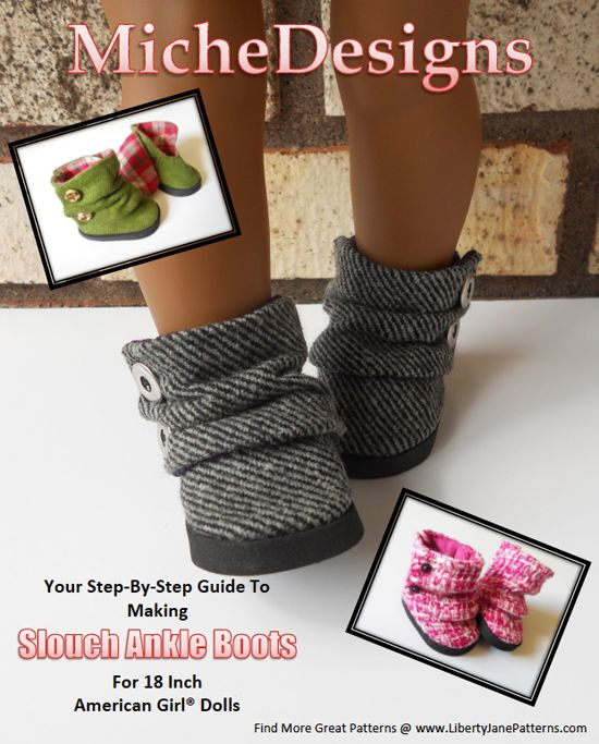 So cute! Love this new pattern! Slouch Ankle Boots Doll Pattern