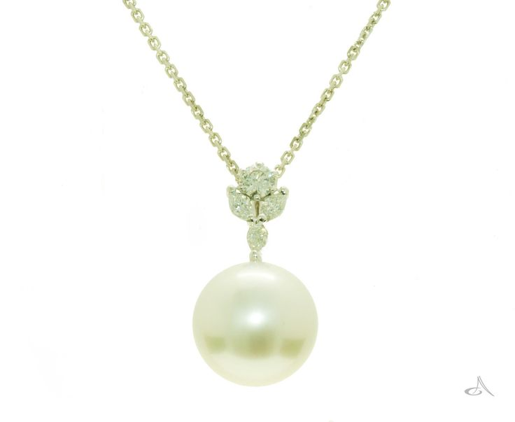 Gorgeous south sea pearl pendant with diamond set bail