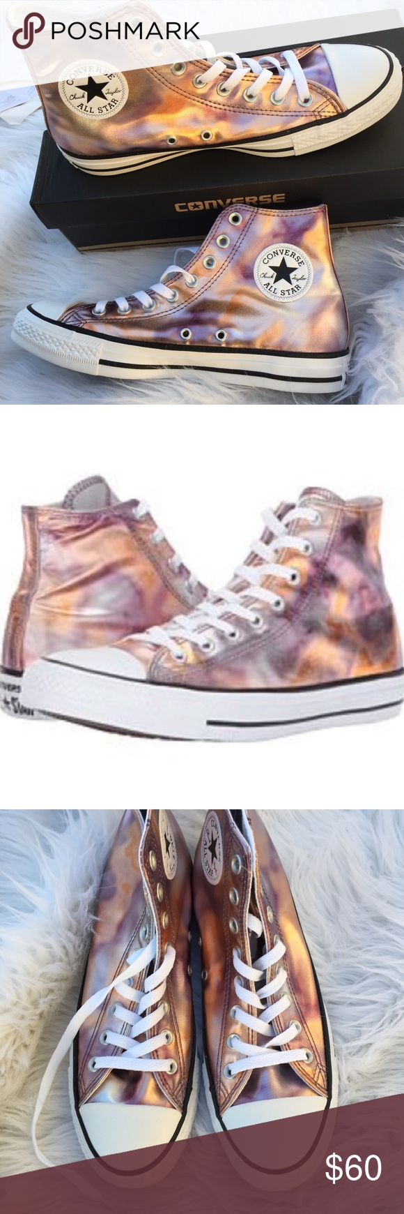 Unisex metallic high top Converse Awesome mix of metallic colors, sized according to unisex sizes. Men's size 7 Women's size 9. New in box from non smoking home Converse Shoes Sneakers